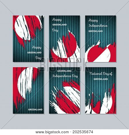 Greenland Patriotic Cards For National Day. Expressive Brush Stroke In National Flag Colors On Dark