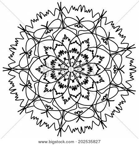 Mandala flower coloring book for adults raster illustration. Anti-stress coloring for adult. Zentangle style. Black and white lines. Lace pattern