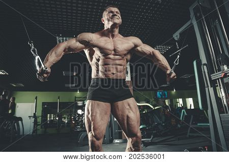Brutal Caucasian Bodybuilder Training Chest In Gym