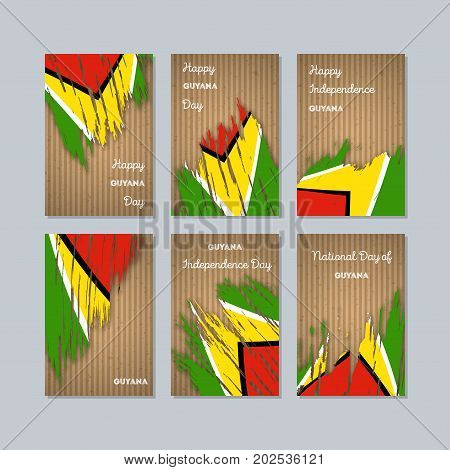 Guyana Patriotic Cards For National Day. Expressive Brush Stroke In National Flag Colors On Kraft Pa