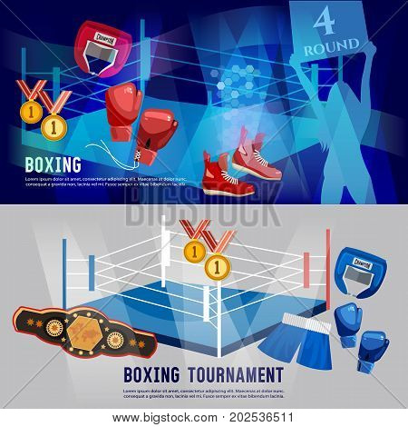 Boxing banner professional box sport. Boxer ring belt punch bags gloves shorts helmet. Boxing sports concept