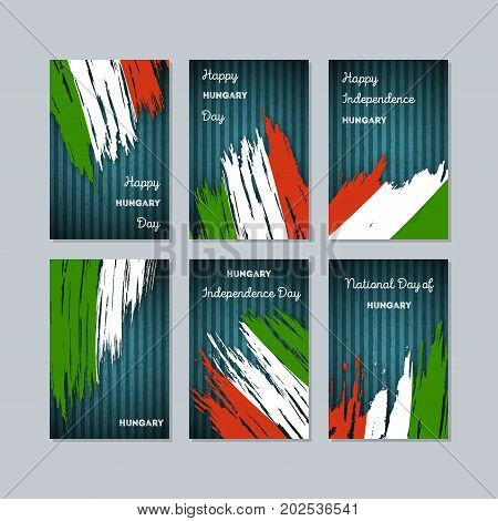 Hungary Patriotic Cards For National Day. Expressive Brush Stroke In National Flag Colors On Dark St