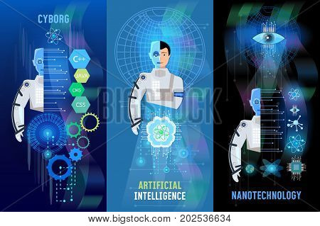 Future technology banner nanotechnologies programming of robots cyborg artificial intelligence people and computers microchips