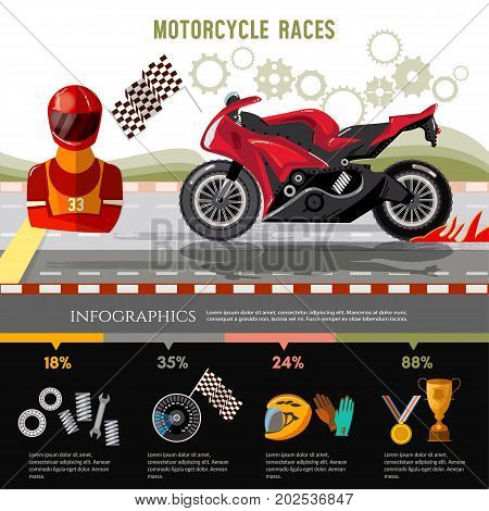Motorcycle races infographic. Motorcycle racing championship on the racetrack. Moto sport concept