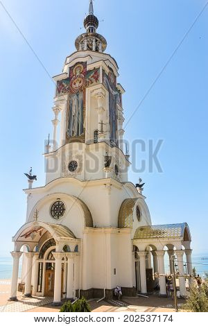 Sudak, Crimea - 12 July, Cathedral on the shore in honor of the memory of the fallen seamen, 12 July, 2017. Temple on the Black Sea coast on the way to Sudak.