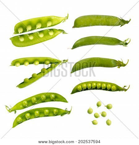 Green Pea Pods And Peas Isolated