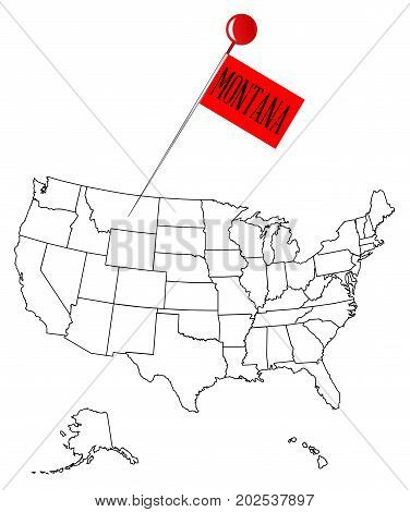 An outline map of USA with a knob pin in the state of Montana