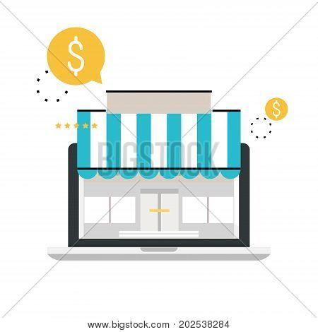 Online store, online shopping, e-shopping, e-commerce, purchasing online, sale flat line vector illustration design for mobile and web graphics