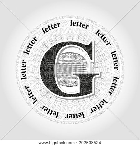 Vector outlet in guilloche style. Abstract design of a guilloche letter.