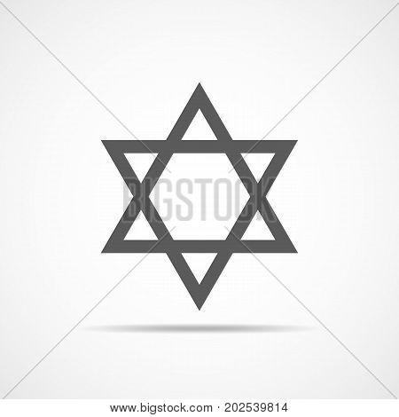 Star of David icon. Vector illustration. Gray hexagonal star in flat design.