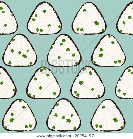 Onigiri with green peas. Japanese rice ball background. Seamless pattern. Asian snack. Lunch texture. Triangle rice balls wrapped with nori seaweed. For decoration, web page or pattern fills.