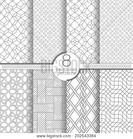 Set of vector seamless pattern. Infinitely repeating contemporary textures consisting of thin lines which form textured ornaments with rhombus tiles zigzag shapes linear grids irregular polygonal forms.