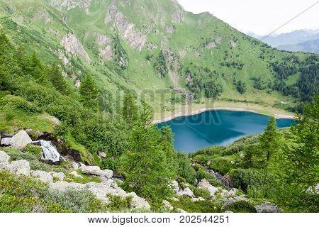 Lake Tremorgio on Canton Ticino in the Swiss alps