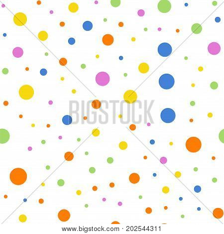 Colorful Polka Dots Seamless Pattern On White 2 Background. Stunning Classic Colorful Polka Dots Tex