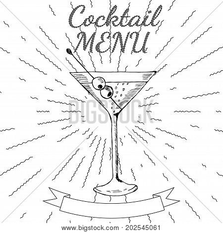 Cocktails menu card vintage design template. Menu blank with space for text  for restaurant, cafe and bar design.