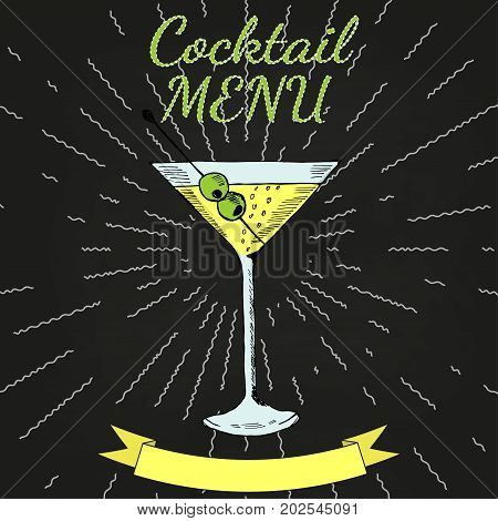 Cocktails menu card vintage design template, chalk board. Menu blank with space for text  for restaurant, cafe and bar design.