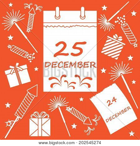 Vector Illustration: Calendar With Christmas Date Page And Gifts, Sparklers, Petards.