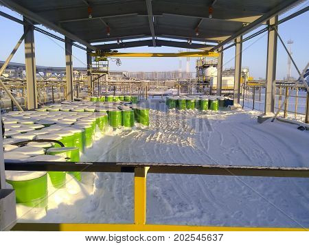 Steel Drums With Chemical Reagent. Canopy For Storage Of Chemical Agent.