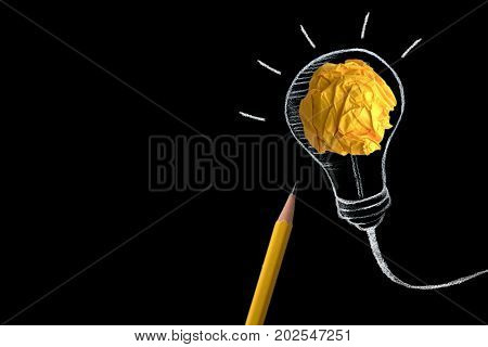 yellow pencil with yellow crumpled paper ball and hand drawn a light bulb creative innovation idea symbol concept