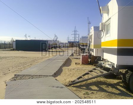 Residential Trailers For Shift Workers In The Oil Field. The Car-house. Residential Infrastructure F