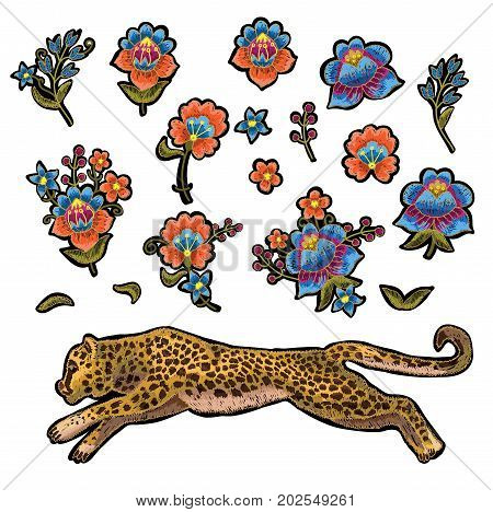 Leopard with flowers. Vector embroidery patches for textile design.