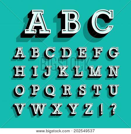 Retro creative colorful flat alphabet. Vector illustration.