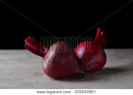 Delicious ripe beets on table