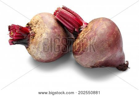 Delicious ripe beets on white background