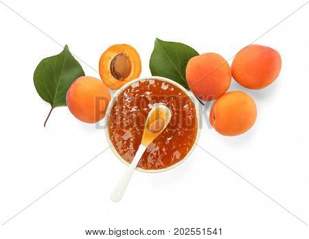 Apricot jam in bowl with fresh fruit, isolated on white