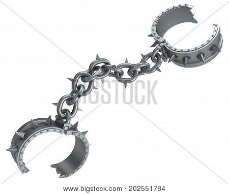 Shackles spiky chain dark metal 3d illustration isolated horizontal over white