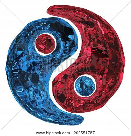 Harmony ruby and sapphire precious gem symbol isolated 3d illustration horizontal