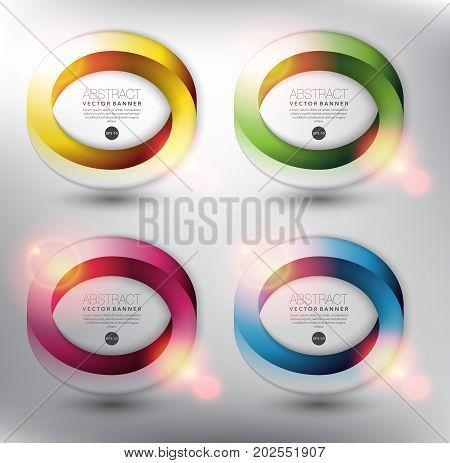 Abstract vector banner set of 4. Impossible circles. Isolated with realistic light and shadow on the light panel. Each item contains space for own text. Vector illustration. Eps10.