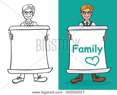 illustration of a Man holding a sheet of paper with an inscription family and a blank sheet on a white background