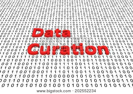 Data curation in the form of binary code, 3D illustration