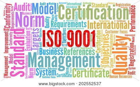 ISO 9001 certification word cloud concept illustration