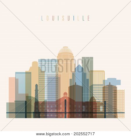 Louisville state Kentucky skyline detailed silhouette. Transparent style. Trendy vector illustration.