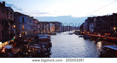 Late Evening In Venice. Grand Canal Tourist Boats.
