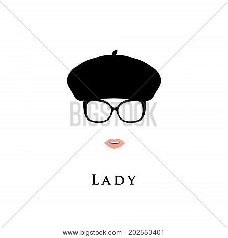 Lady in beret and glasses. Fashion illustration.