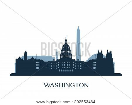 Washington skyline monochrome silhouette. Design vector illustration.