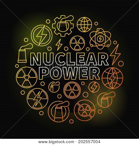 Nuclear power round colorful illustration - vector round energy yellow concept symbol made with nuclear outline icons on dark background