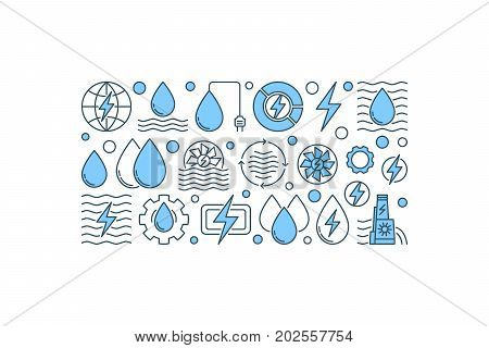 Creative hydropower banner. Vector renewable energy and water power concept illustration