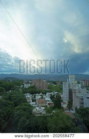 A stormy evening view of Mendoza, Argentina