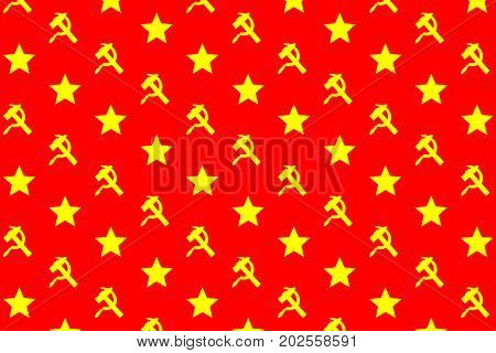 Star sickle and hammer - yellow symbol on red background - vector pattern