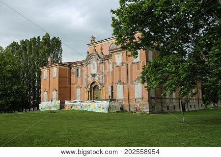Villa Sorra Italy - August 10 2017: Baroque palace and park of Villa Sorra. Castelfranco Emilia Modena Italy