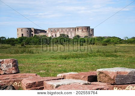 The castle ruin by Borgholm at the swedish island Oland