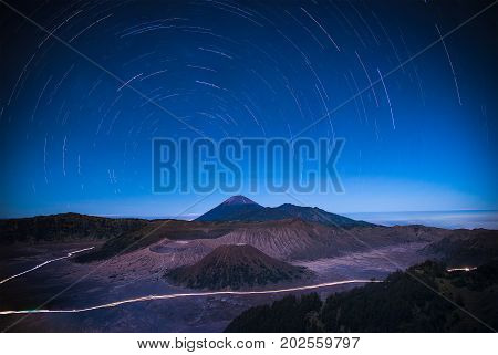 Stars Trail over mount Bromo volcano (Gunung Bromo) at night in Bromo Tengger Semeru National Park East Java Indonesia.