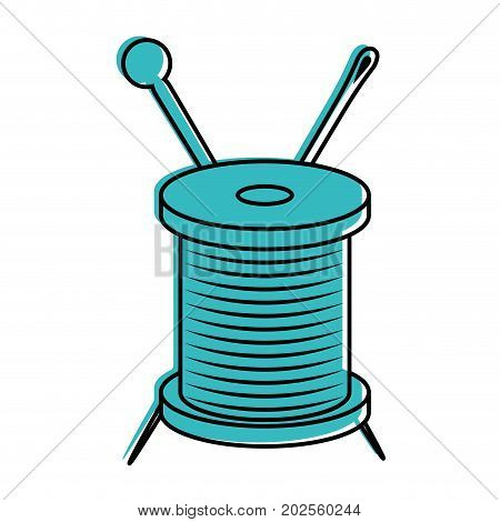 thread spool and needle icon over white background vector illustration