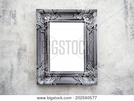 Wooden frame on the wall with space for design photo text mock-up or template