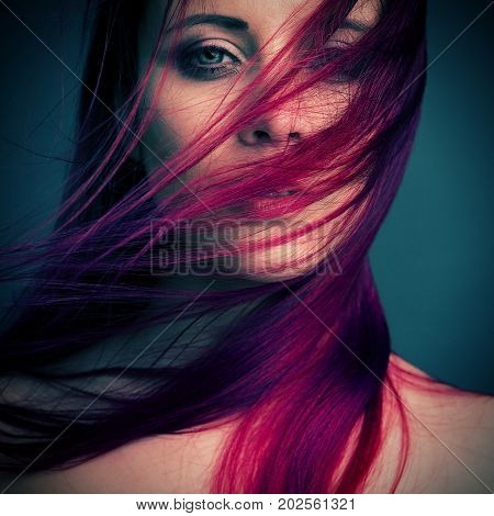 dramatic portrait attractive girl with styling red hair