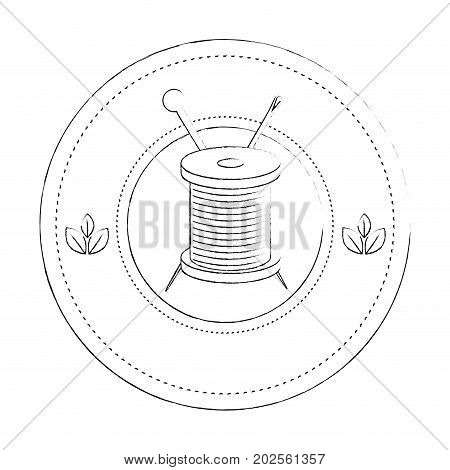 seal stamp with thread spool and needle icon over white background vector illustration